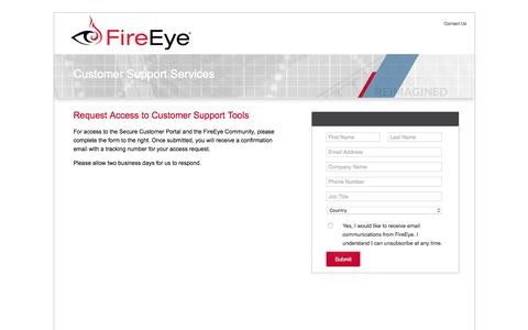 Screenshot of Landing Page fireeye.com - FireEye, Inc. | Request Access to Secure Customer Support Portal - captured March 23, 2016