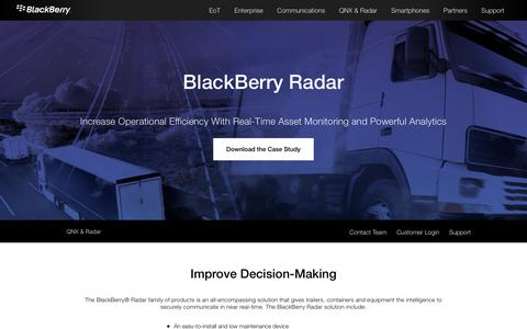 Screenshot of blackberry.com - Trailer, Container and Equipment Tracking – BlackBerry Radar - captured Sept. 22, 2017
