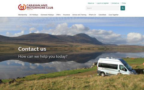 Screenshot of Contact Page caravanclub.co.uk - Contact us | The Caravan Club - captured June 22, 2017