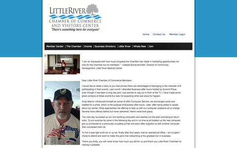 Screenshot of Testimonials Page littleriverchamber.org - Little River Chamber of Commerce Testimonials - captured Oct. 3, 2014