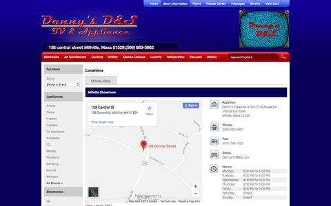 Screenshot of Locations Page dannystv.com - Contact Danny's Daughter & Son TV & Appliance in Massachusetts - captured July 2, 2018