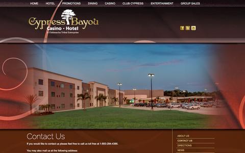 Screenshot of Contact Page cypressbayou.com - Contact Cypress Bayou Casino - captured Feb. 2, 2016