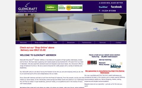 Screenshot of Home Page glencraft.co.uk - Glencraft Aberdeen, Mattress and Bed Supplier Aberdeenshire, Glencraft Suppliers of Quality Mattresses and Beds, Divan Makers - captured Oct. 2, 2014