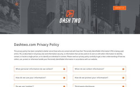 Screenshot of Privacy Page dashtwo.com - Privacy Policy for DASH TWO Website | Dash Two - captured June 3, 2017