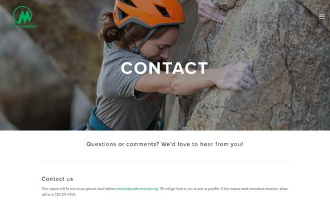 Screenshot of Contact Page outdoormindset.org - Contact — Outdoor Mindset - captured Sept. 20, 2018