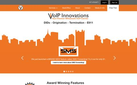 Screenshot of Home Page voipinnovations.com - VoIP Innovations   Wholesale VoIP - captured April 13, 2016