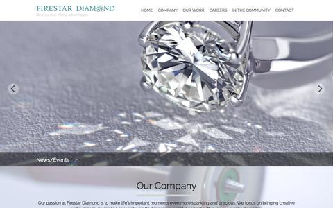 Screenshot of Home Page firestardiamond.com - Firestar Diamond - Home - captured Oct. 6, 2014