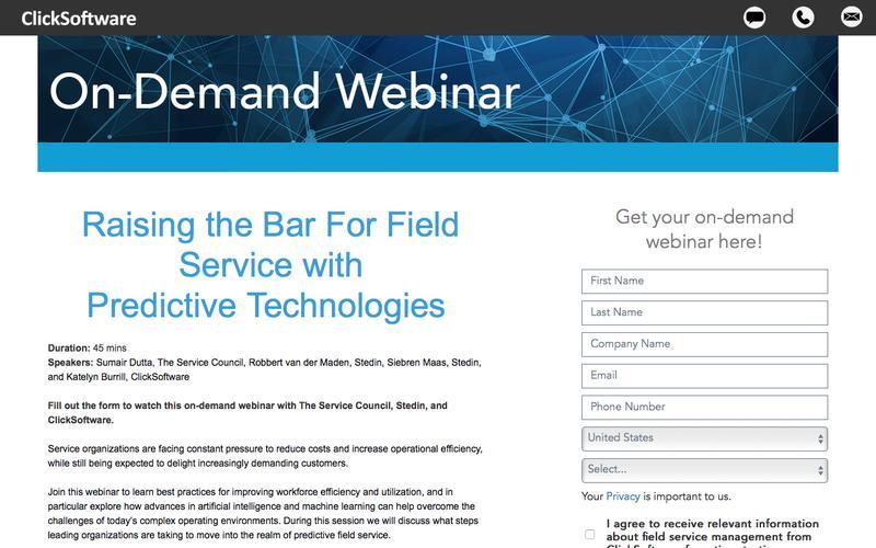Raising the Bar for Field Service Webinar Registration | ClickSoftware