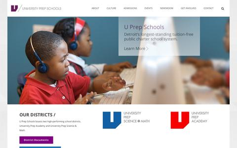 Screenshot of Home Page uprepschools.com - Home - U Prep Schools - captured Sept. 12, 2015