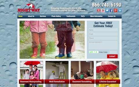 Screenshot of Home Page rightwaywaterproofing.com - Basement Waterproofing Contractor & Water damage Cleaup NJ New Jersey | Rightway Waterproofing - captured Jan. 30, 2015
