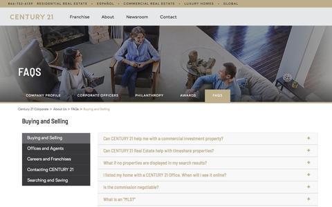 Screenshot of FAQ Page century21.com - Real Estate FAQs - Buying & Selling   CENTURY 21 - captured June 11, 2018