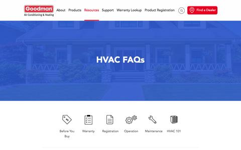 Screenshot of FAQ Page goodmanmfg.com - HVAC FAQs - captured Sept. 1, 2016