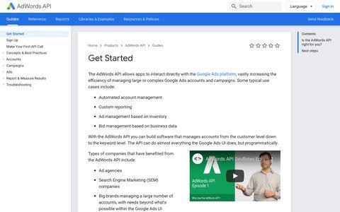 Screenshot of Developers Page google.com - Get Started | AdWords API | Google Developers - captured Nov. 8, 2019