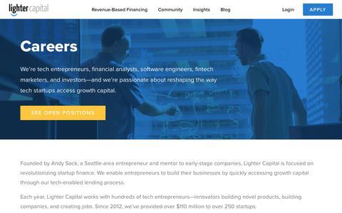 Screenshot of Jobs Page lightercapital.com - Careers at Lighter Capital - captured Dec. 7, 2018