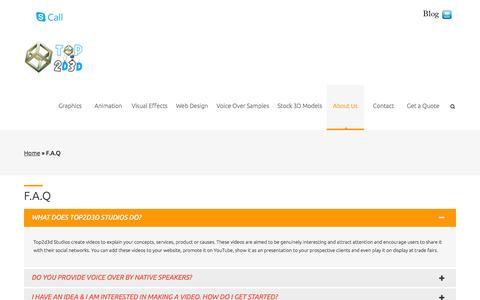 Screenshot of FAQ Page top2d3d.com - F.A.Q | Animated Video Production Studio - captured Oct. 1, 2014