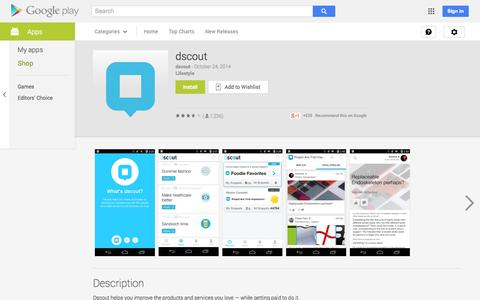 Screenshot of Android App Page google.com - dscout - Android Apps on Google Play - captured Oct. 27, 2014