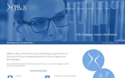 Screenshot of Home Page pbbtech.com - PB&B | A Swiss MedTech Start-Up - captured July 6, 2018