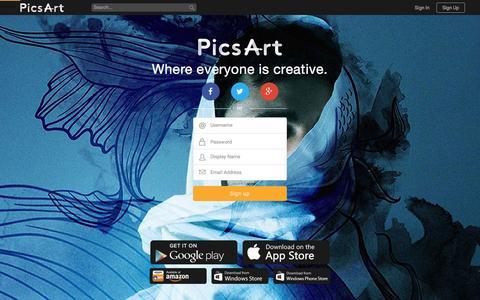 Screenshot of Signup Page picsart.com - Sign Up - PicsArt - captured Jan. 14, 2016