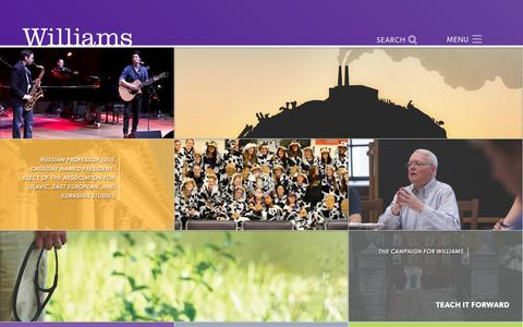 Screenshot of Home Page williams.edu - Williams College - captured Nov. 24, 2016