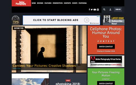 Screenshot of Home Page betterphotography.in - Photography News - Better Photography - captured Sept. 26, 2018