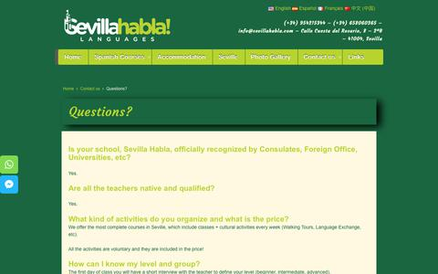 Screenshot of FAQ Page sevillahabla.com - Frequently asked questions | Sevilla Habla Languages | Spanish Courses - captured Oct. 30, 2018