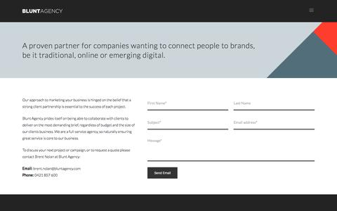 Screenshot of Contact Page bluntagency.com - Creative agency with ideas to drive your business growth. Be Blunt. - captured June 2, 2017