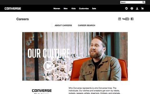 Screenshot of Jobs Page converse.com - About Careers - captured Oct. 21, 2015