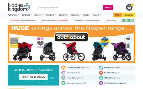 Screenshot of Home Page kiddies-kingdom.com - Online Baby Shop and Nursery Store UK | Pushchairs, Furniture & Accessories - captured Sept. 20, 2018