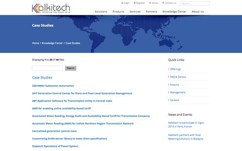 Screenshot of Case Studies Page kalkitech.com - Case Studies on Smart Grid Projects (AMI, Grid Automation, Energy Optimization) | Kalkitech - captured Sept. 30, 2014