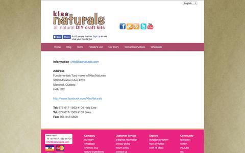 Screenshot of Contact Page kissnaturals.com - Contact Us - captured Sept. 22, 2014