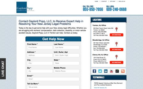 Screenshot of Contact Page Locations Page gaylordpopp.com - Contact Our Trenton Attorneys to Resolve Your Legal Issues | Gaylord Popp, LLC - captured Oct. 2, 2014