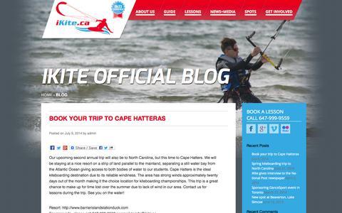 Screenshot of Blog ikite.ca - iKite Canada Official Blog: News, Updates & Media - captured Oct. 6, 2014