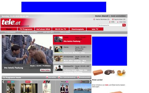 Screenshot of Home Page tele.at - tele.at - captured Feb. 20, 2016