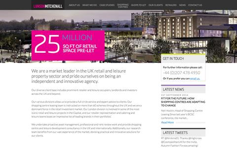 Screenshot of Home Page lunson-mitchenall.co.uk - Lunson Mitchenall market leader in the UK retail & shopping centre property sector - captured Sept. 30, 2014