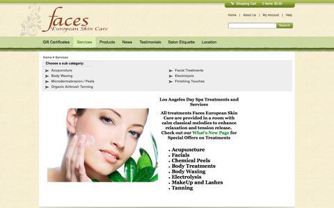 Screenshot of Services Page facesesc.com - FacesESC , Los Angeles - captured Nov. 24, 2016