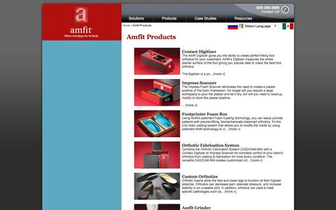 Screenshot of Products Page amfit.com - Amfit Products | Custom Foot Orthotic Products - captured Feb. 6, 2016