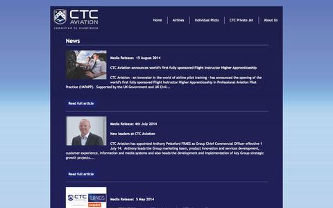Screenshot of Press Page ctcaviation.com - News - CTC Aviation - captured Oct. 1, 2014