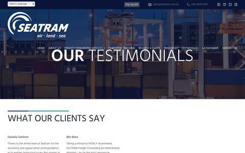 Screenshot of Testimonials Page seatram.com.au - Sea Transport Management Testimonials - captured Nov. 16, 2018