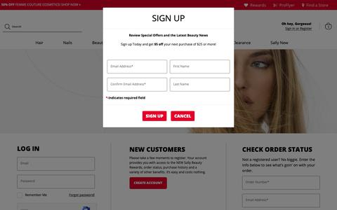 Screenshot of Login Page sallybeauty.com - Login To Your Account - captured March 20, 2019