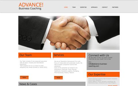Screenshot of Home Page advance-business-coaching.com - Advance Business Coaching, Advance consulting, Advance coaching - captured Sept. 30, 2014