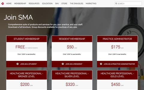 Screenshot of Signup Page sma.org - Membership in the Southern Medical Association (SMA) - captured Dec. 4, 2017