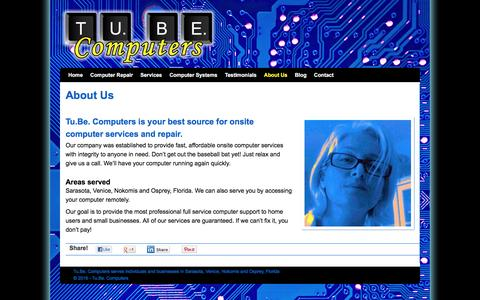 Screenshot of About Page tubecomputers.com - About Tu.Be. Computers onsite services in Venice | Sarasota | Nokomis | Osprey | Tu.Be. Computers - captured Dec. 1, 2016