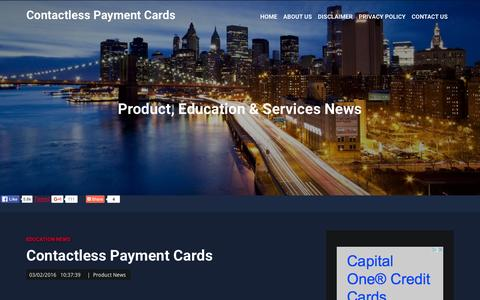 Screenshot of Home Page contactlesspaymentcards.com - Contactless Payment Cards, Product, Services, Education & Business News - captured Feb. 3, 2016