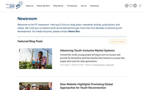 Screenshot of Press Page iyfnet.org - Newsroom | International Youth Foundation - captured Oct. 15, 2017