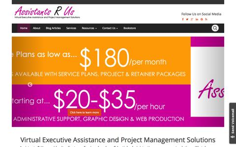 Screenshot of Home Page assistantsrus.org - Assistants R Us | Virtual Executive Assistance and Project Management Solutions - captured Sept. 30, 2014