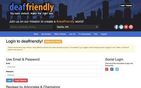 Screenshot of Login Page deafreview.com - deaffriendly | Login - captured Sept. 30, 2014