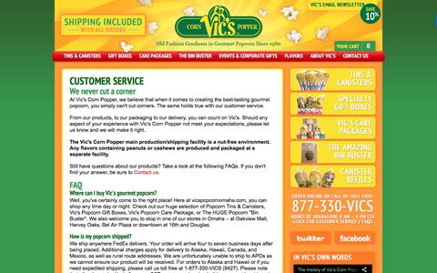 Screenshot of Support Page vicspopcornomaha.com - Customer Service & FAQ's -  Vic's Popcorn | Fresh Gourmet Popcorn, Popcorn Canisters, Gift Boxes, and Bulk Popcorn - Since 1980 - captured June 21, 2016