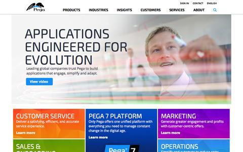Screenshot of Home Page pega.com - Pega   Applications Engineered for Evolution - captured June 17, 2015