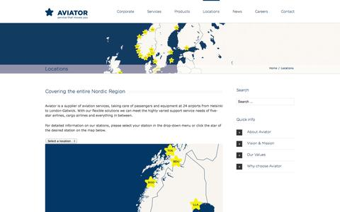 Screenshot of Locations Page aviator.eu - Aviator   –  Locations - captured Nov. 4, 2014