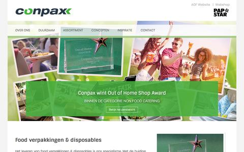 Screenshot of Home Page conpax.nl - Duurzame en inspirerende food verpakkingen & disposables - captured July 21, 2018